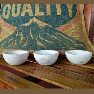3 Thirsty stone Small White Marble Bowls *Read*
